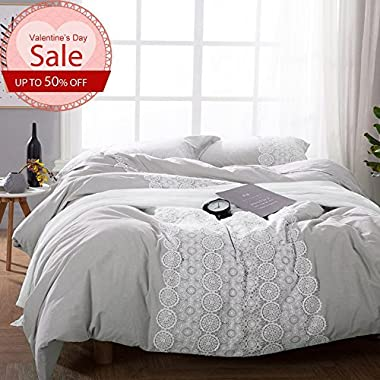 LifeTB Luxury Bedding Duvet Cover Set King Size Hotel Solid Color Comforter Cover with Lace Bohemian Design Solid Grey 100% Cotton Reversible Soft and Breathable Luxury Wedding Bedding Sets