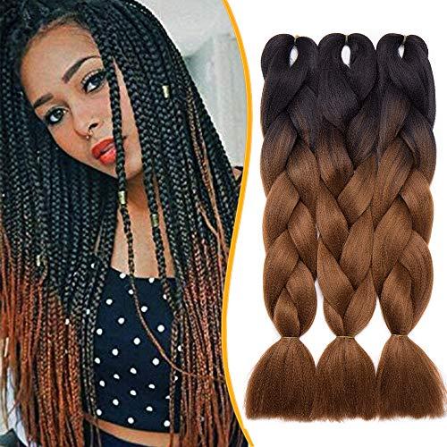 3 Stück Braids Kunsthaar Extensions 60cm Braiding Haarverlängerung Crochet Flechthaar Synthetische Haare 100g/Bündel Schwarz zu Braun