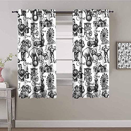 JNWVU Blickdicht Vorhang für Schlafzimmer - Weiß Zirkus Tier Clown - 3D Druckmuster Öse Thermisch isoliert - 280 x 260 cm - 90% Blickdicht Vorhang für Kinder Jungen Mädchen Spielzimmer