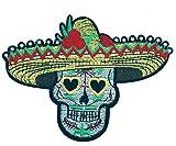 Gemelolandia | Parche Bordado Termoadhesivo Calavera Catrina con Sombrero Mexicano 11 cm | Muy Adherentes | Patch Stickers Para Decorar Tu Ropa | Fáciles de Poner