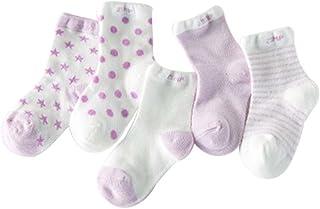 Blancho, Cinco pares de verano fino sección malla de algodón púrpura bebé calcetines