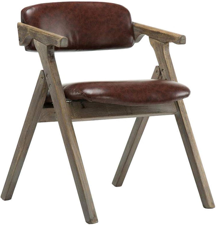 LLYU Wooden Folding Chair Armchair Dining Chair Desk Chair Office Chair - PU Cushion