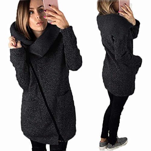Gillberry Womens Casual Hooded Jacket Coat Long Zipper Sweatshirt Outwear Tops (Black, M)