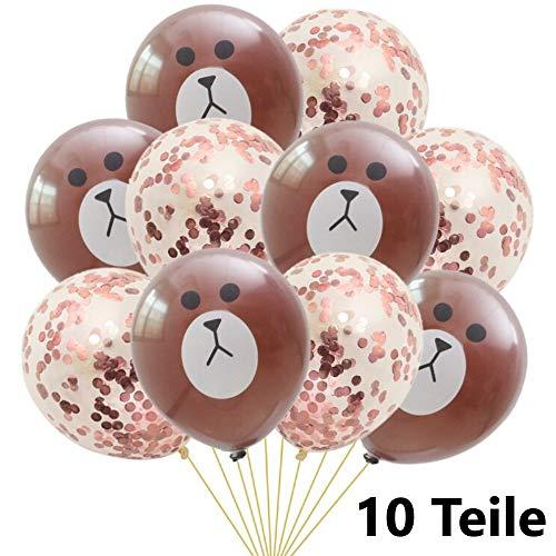 DIWULI, 10 Stück Bär und Konfetti Roségold Luftballons, Latex-Ballons Braun Rose-Gold, Ballon-Set, Geburtstags-Ballons, Latex-Luftballons für Geburtstag, Motto-Party, Dekoration, Geschenk-Deko, DIY