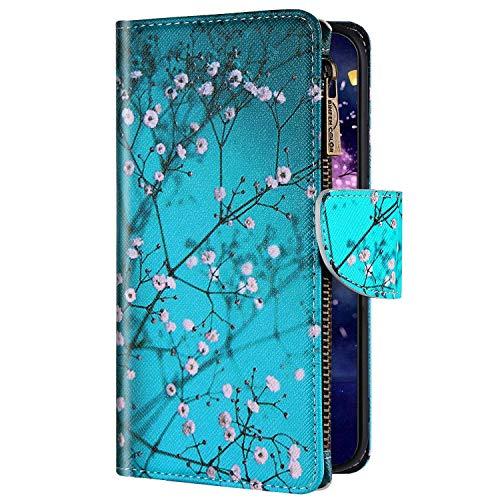 Uposao - Carcasa para iPhone 6 y 6S (piel sintética, con cierre magnético, cierre magnético, ranuras para tarjetas, función atril), diseño de flor de ciruela
