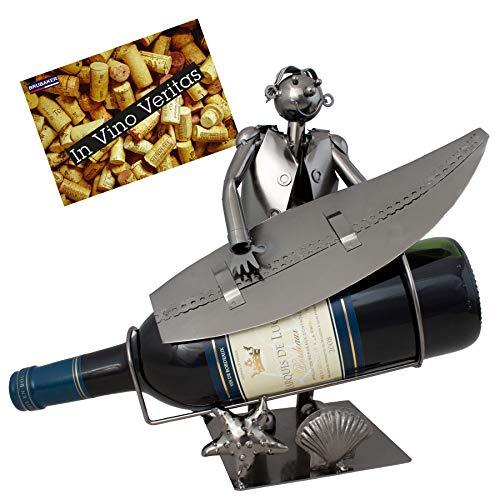 BRUBAKER Porta botella de vino surfista con tabla de surf - Decoraciónn soporte de botella de metal - con tarjeta de saludo