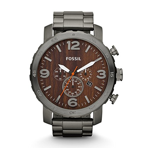 Fossil Nate Chronograph Wood Dial Stainless Steel Mens Watch JR1355: Watches