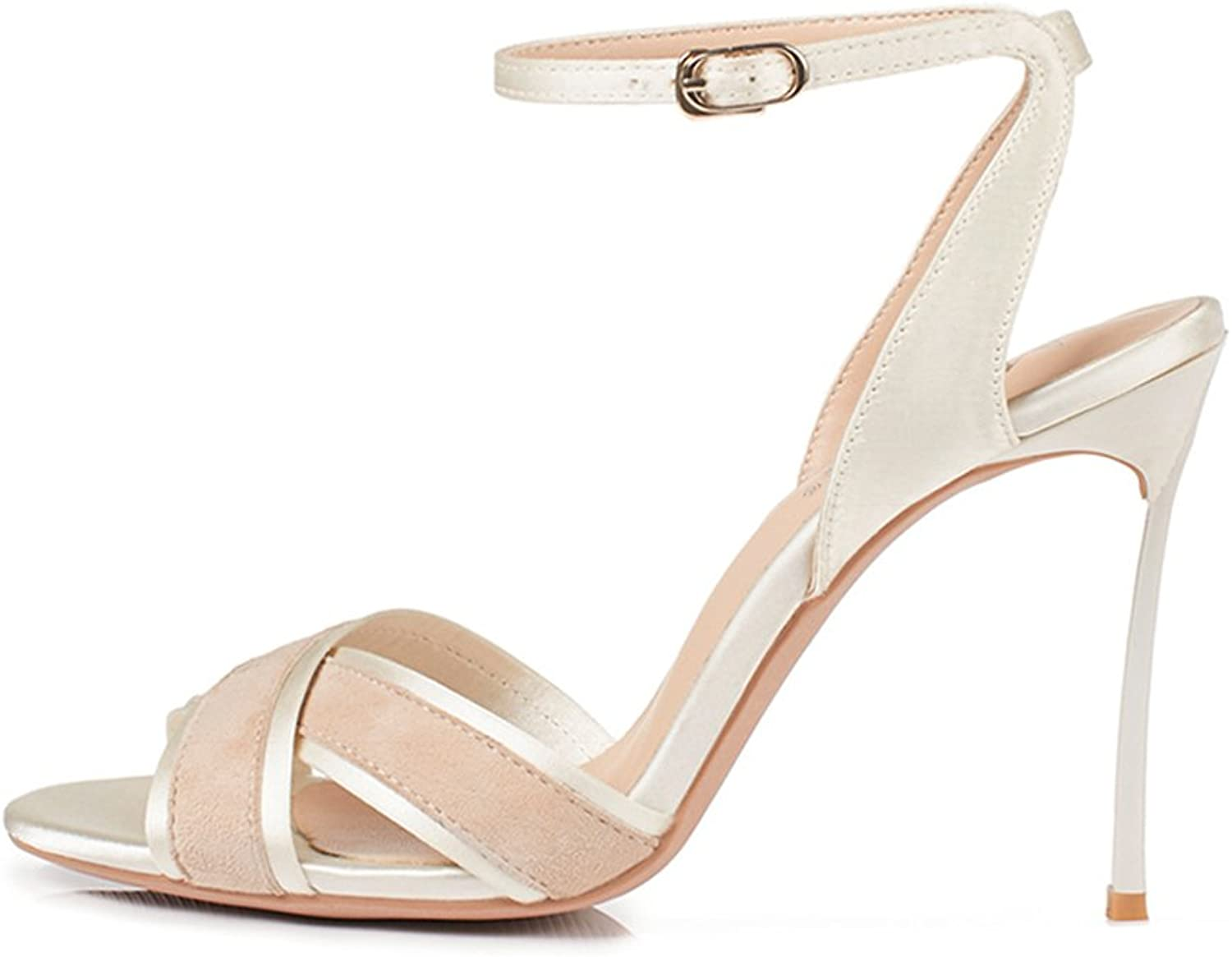 JE shoes Female Sandals High-Heeled shoes Cross with A Buckle with Wild 10cm