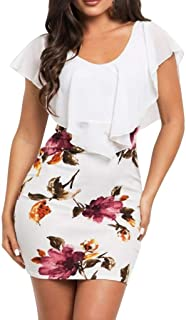 Women's Sexy Sleeveless Bag Buttock Dresses Floral Printed Bodycon Holiday Party Casual Summer Short Mini Sheath Dress