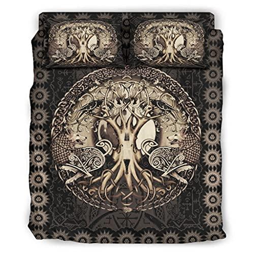 Wandlovers Juego de ropa de cama de 4 piezas, diseño vikingo árbol de la vida, cuervo lobo,...