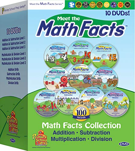 Meet the Math Facts 10 DVD set - addition, subtraction, multiplication & division (includes bonus digital book)