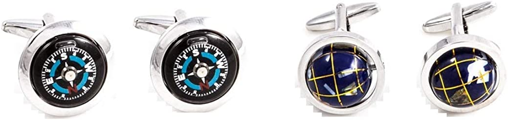 MRCUFF Travel Globe & Compass Traveler Pilot 2 Pairs Cufflinks in a Presentation Gift Box & Polishing Cloth