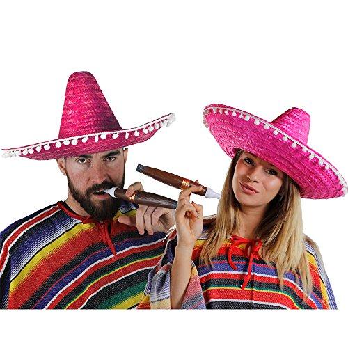 MEXIKANER PAAR KOSTÜM VERKLEIDUNG = 2 PONCHOS + 2 ROSA SOMBREROS MIT KLEINEN WEIßEN POMPOMS +2 DICKE PLASTIK ZIGARREN+ 2 MEXIKANISCHE SELBSTKLEBENDE SCHNURRBÄRTE=FASCHING KARNEVAL HALLOWEEN