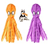 SHOKAN 2 Pack No Stuffing Squeaky Dog Toy, Soft Octopus Plush Dog Toy with Crinkle Paper, Stuffingless Dog Chew Toy for Puppy Small Medium Dogs Playing Christmas Dog Toys Gift, 32cm