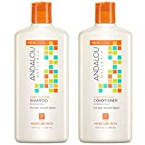 Andalou Naturals Argan Oil and Shea Moisture Rich Shampoo and Conditioner Bundle with Aloe Vera Extract, Jojoba Oil, and Argan Oil for Hair for Men and Women, 11.5 Ounce. Each