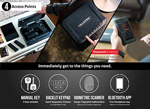 Vaultek VT10i Lightweight Biometric Handgun Bluetooth Smart Safe Pistol Safe with Auto-Open Lid and Rechargeable Battery (Not Compatible with Smart Key)