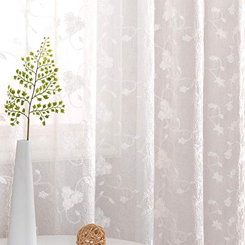 """Sheer Curtains for Living Room Bedroom Crushed Sheer Window Treatments Rod Pocket Top (2 Panels, 42"""" x 95"""", White) Floral Embroidered Detail"""