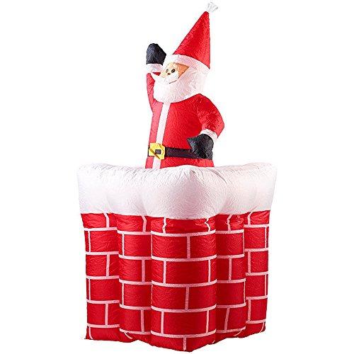 SSITG Aufblasbarer XXL Weihnachtsmann mit Schornstein, 180 cm
