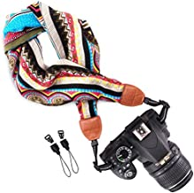Wolven Soft Scarf Camera Neck Shoulder Strap Belt Compatible with All DSLR/SLR/Digital Camera (DC)/Instant Camera/Nikon/Canon/Sony/Olympus/Leica/Fujifilm Etc, Multicolored