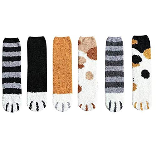 5 Pairs Cat Paw Socks,Cat Claw Socks Design Plush Cozy Slipper Sock Cute Style Autumn and winter coral fleece socks female