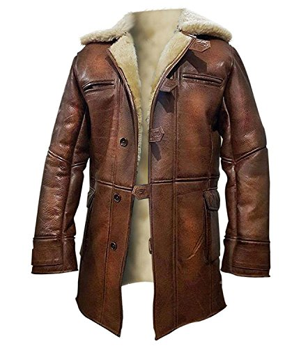 III-Fashions Bane Dark Knight Rises Tom Fur Shearling Pea Coat Men's Distressed Brown Trench Leather Jacket