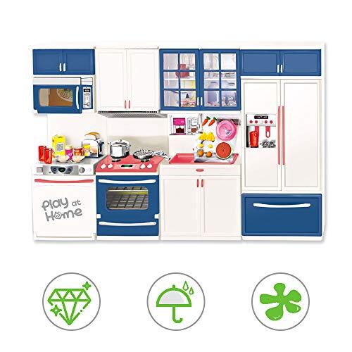 Volbaby Miniküche für Kinder, Küche so tun als Spielzubehör, kleines Küchenspielset, Simulation Elektrogeräte Küchenschrank Set Spielzeug, Spielzeug Kühlschrank/Geschirrspüler/Herd/Mikrowelle