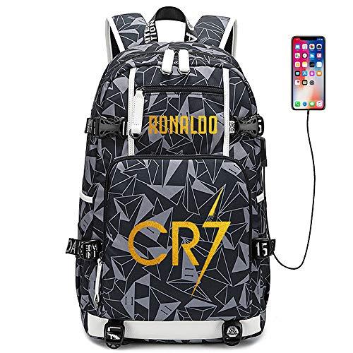 Lorh's store Fußballer Star Cristiano Ronaldo Multifunktionsrucksack CR7 Reisestudent Rucksack Fans Büchertasche für Männer Frauen (G-Muster 2)