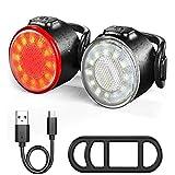 LSLEE Juego de luces para bicicleta recargable, luz LED delantera y trasera USB, 3 modos de luz,...