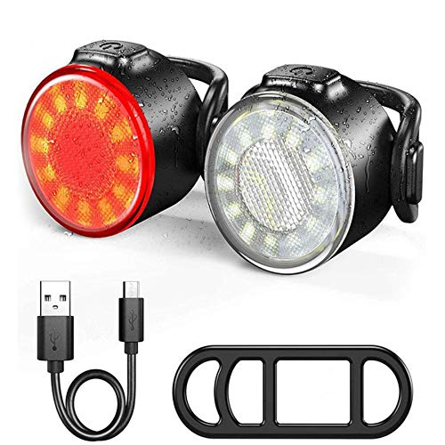 SEEZEN Juego de luces para bicicleta, luz delantera y trasera ultra brillante, recargable por USB, IPX5, impermeable, para casco de montaña, faro LED y luz trasera (6 modos)