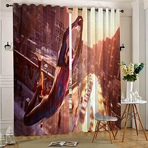 Petpany Avengers Superhero Room Darkening Curtains spiderman miles morales Grommet Thermal Insulated for Living Room for Adults Kids Bedroom Living Room 52'x84'