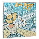 Cortina de Ducha, Decoraciones de Fiesta para irse, Retro Lady Escorts Aircraft Pop Art Style Travel Comic, Set de Cortina de baño Amarillo Azul Claro con Ganchos
