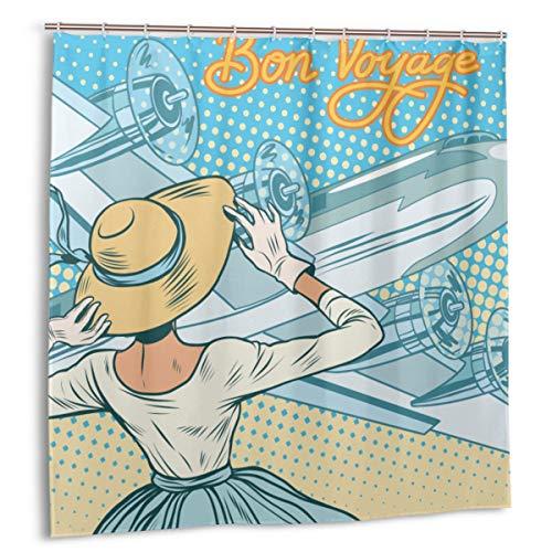 Cortina de Ducha, Decoraciones de Fiesta para irse, Retro Lady Escorts Aircraft Pop Art Style Travel Comic, Set de Cortina de baño Amarillo Azul Claro con Ganchos 60 x 72 Pulgadas