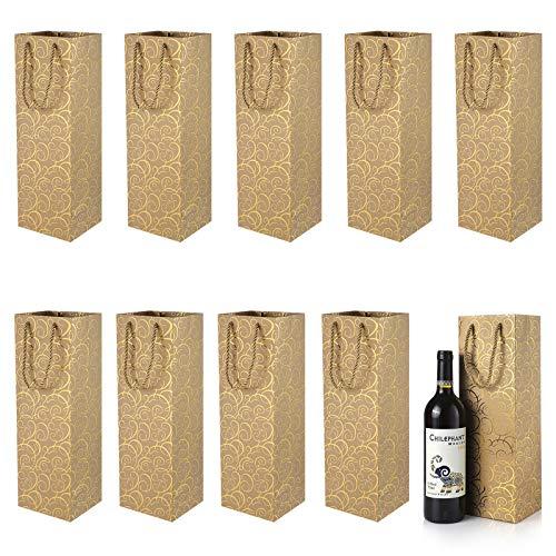 Bolsos de la Botella Bolsos de Regalo para Vino, XiYee 10 Pieces Paquete Bolsas de Papel para Botellas de Vino Embalaje Botellas Vino para Aniversario, Cumpleaños y Festival (Golden(12cm*10cm*36cm))
