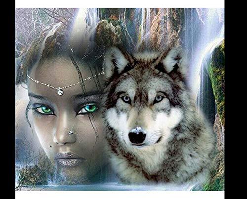DIY Diamond Art Painting Handmade Art Drawing Wolf Girl Exquisite Plant Decoration Handmade Art Gift Mosaic Ornaments