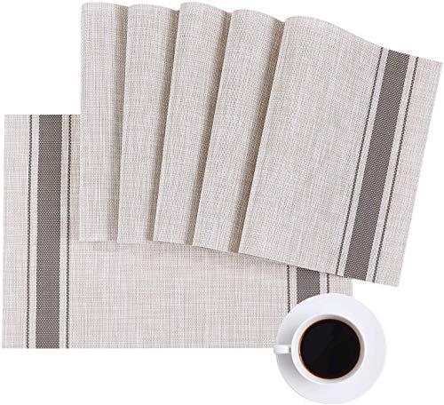 Manteles Individuales lavable Gris, Eageroo antideslizante resistente al calor para de PVC la Mesa de Comedor de Cocina, vinilo Place Mats Juego de 6, 45x30cm