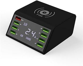 دياسو - شواحن الهاتف المحمول - موزع USB متعدد المنافذ محطة شحن سريع وشاشة LCD QC3.0 محول طاقة لاسلكي محور شحن لاسلكي للكمب...