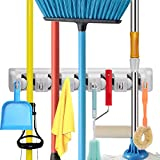 Champs Mop Broom Holder, Wall Mounted Commercial Organizer Storage Rack for Garden Tools