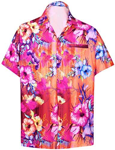 LA LEELA Funky hawaiihemd Hawaiian Hemd Beach Hemd Kurzarm Männer Hawaiihemd Kragenknopf nach unten hawaiihemden übergröße Aloha XL Rosa_6026