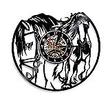 Zihan9 Reloj de Pared de Vinilo Luz Ambiental retroiluminada Elementos de Registro de Cuarzo Creativo Anime Movie Vintage Handmade Decoration Clock