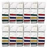 Yacht & Smith Mens & Womens Wholesale Bulk Cotton Tube Socks, Referee Style, by SOCKS'NBULK (12 Pairs Assorted, Mens 10-13 (Shoe Size 7-12))
