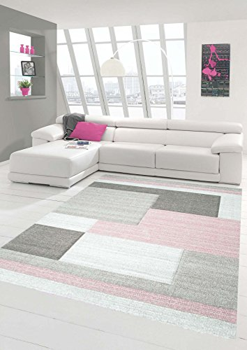 Traum Teppich Designerteppich Moderner Teppich Wohnzimmerteppich Kurzflor Teppich mit Konturenschnitt Karo Muster Pastellfarben Rosa Beige, Größe 160x230 cm