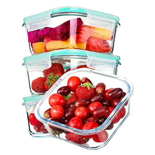 YEBODA Glass Food Storage Containers with Airtight Snap Locking Lids BPA Free Meal Prep Container Set For Home Kitchen Restaurant  Freezer Microwave Oven Dishwasher Safe 28oz 4 Pack