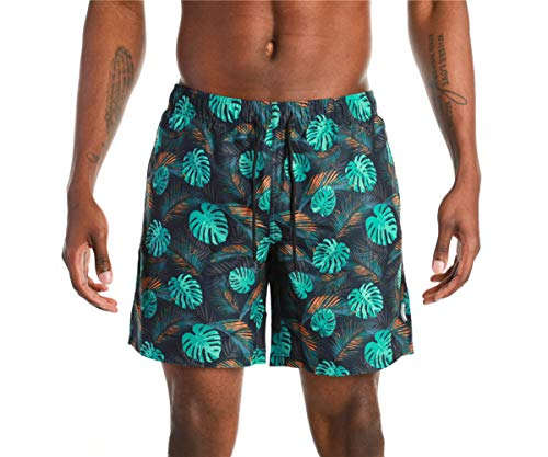 VECCOBERRY Men's Swim Trunks Quick Dry Beach Board Shorts Bathing Suits with Drawstring Pockets and Mesh Lining (Teal Print, M)