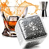 King-Sized Premium Whiskey Stones Stainless Steel Gift Set-Bourbon, Scotch Reusable Metal Ice Cubes -Whiskey Rocks Chilling Stones 1.5' extra large + Cork Coasters for drink by Spirit Lux