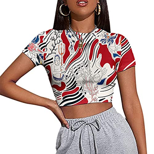 Primavera y Verano Camiseta Ajustada de Manga Corta para Mujer con Cuello Redondo y Ombligo Tie-Dye Art Patrón caótico Ocio