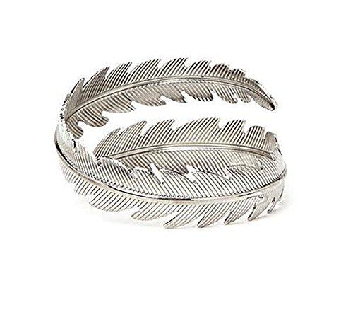 Damen Mädchen Metall Feder Blatt Armband Armreif Braut Oberarm Manschette Armlet Gypsy Boho Armband (Silber)