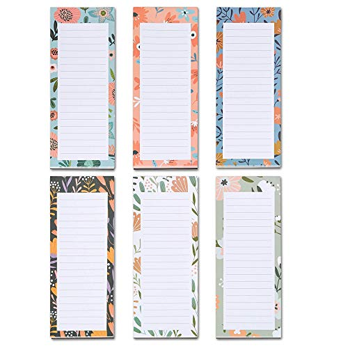 Grocery List Magnet Pad for Fridge, 6-Pack Magnetic Note Pads Lists, 60 Sheets Per Pad, 6 Cute Floral Designs, Full Magnet Back To-Do-List Notepads