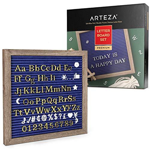 ARTEZA Blue Felt Letter Board Set, 10x10 Inch, Met 526 Verwisselbare Letters, 164 Symbolen, 33 Cursieve Woorden, Houten Stand, Schaar & Opbergtas, Bericht voor Borden, Decor & Menus