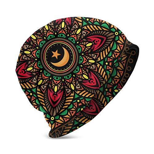 Valender Mandala Color Tattoos 's Winter Warm Knit Sombreros Elásticos Soft Beanie Hat Gorra de Calavera para niños niñas