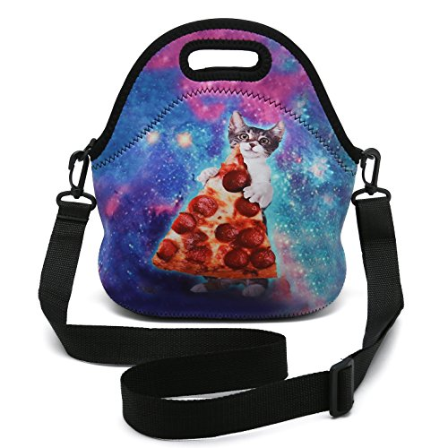 Insulated Neoprene Lunch Bag Removable Shoulder Strap Reusable Thermal Thick Lunch Tote Bags For Women,Teens,Girls,Kids,Baby,Adults-Lunch Boxes For Outdoors,Work,Office,School (Cat Take Pizza)